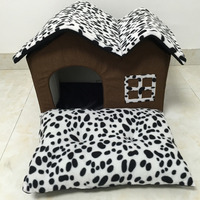 Pet House Pet Supply Double Top Zipper Dot Warm Dogs Kennel Cat Dog House Folding Pet Beds Folding Dog Bed Warm Soft