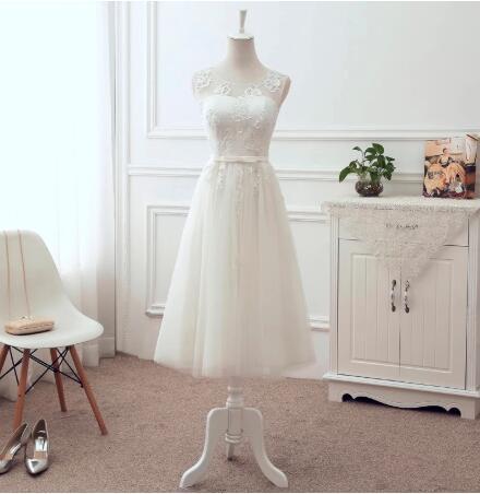 Tea Length Short Evening Dress Evening Gowns Tulle Lace Appliques Good Price EN02
