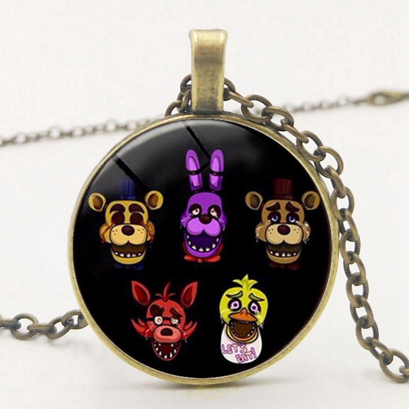 FNAF Five Nights At Freddy 39 s Jewelry Necklace Pendant Silver Glass Pendant Necklace High Quality Children 39 s Jewelry Wholesale in Pendant Necklaces from Jewelry amp Accessories