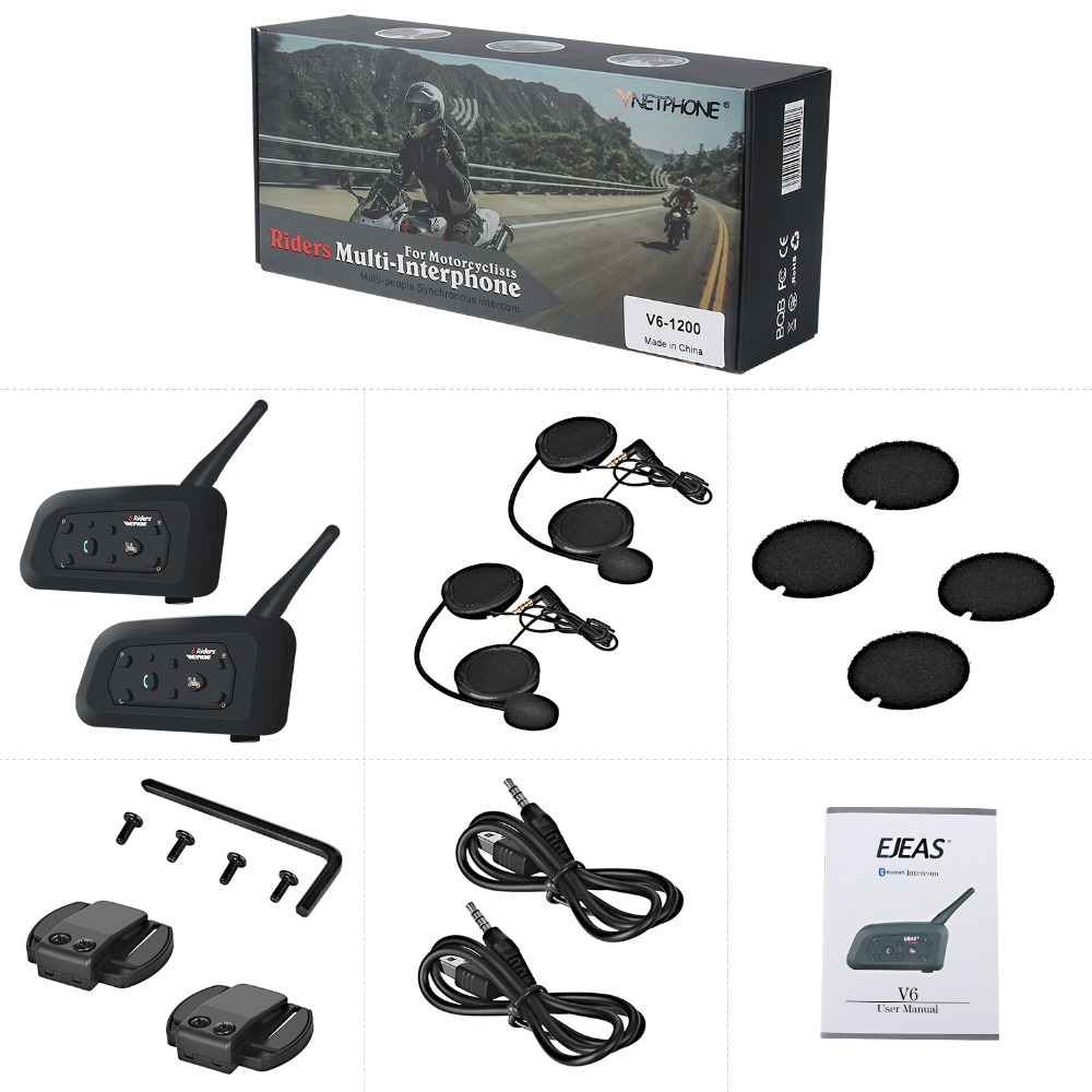 VNETPHONE 2Set V6 1200m Bluetooth Intercom Motorcycle Helmet 6 Speaker Interphone Moto Accessories Headset Remote Wireless Bt s2 in Helmet Headsets from Automobiles Motorcycles