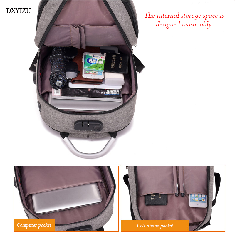 Usb Charging Canvas Backpack Women School Backpacks Schoolbag For Teenagers Man Student Book Bag Boys Satchel #6