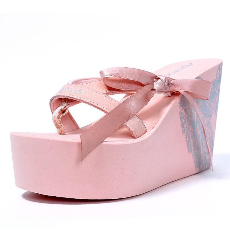 Women Bow Knot Details 11 Cm High Heel Casual Fashion Slippers