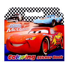 16 Pages Cars Coloring Sticker Book For Children Adult Relieve Stress Kill Time Graffiti Painting Drawing Art Book