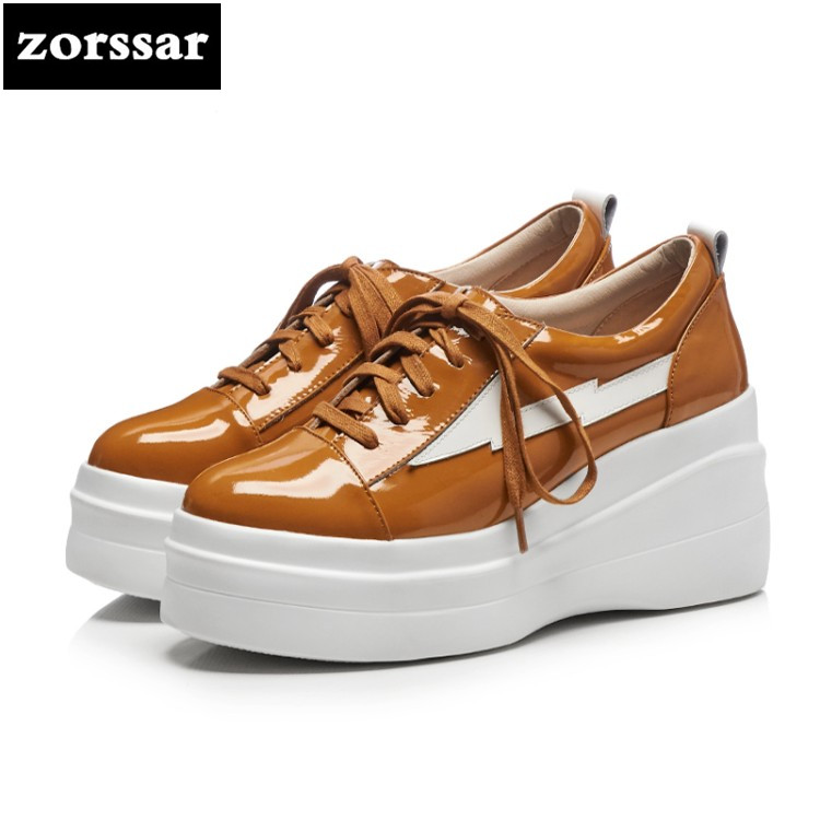{Zorssar} 2018 NEW fashion Patent leather womens pumps shoes casual Lace-up Round toe Wedges High heels women Creepers shoes new 2016 fashion brand shoes wedges round toe lace up women pumps high heels ladies platform shoes creepers plus size 34 42
