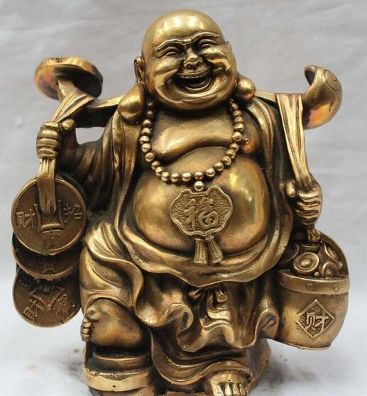 Lucky Chinese Brass Buddhism Happy Laugh Money Yuanbao Maitreya Buddha Statue