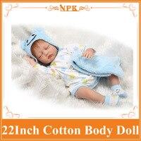 22 '' En Iyi Fiyat Ile Uyku Silikon Bebek Reborn Bebekler Pamuk Vücut yumuşak Dokunmatik Acompany Arkadaş Gibi En Sıcak Satmak Bebek Oyuncakları