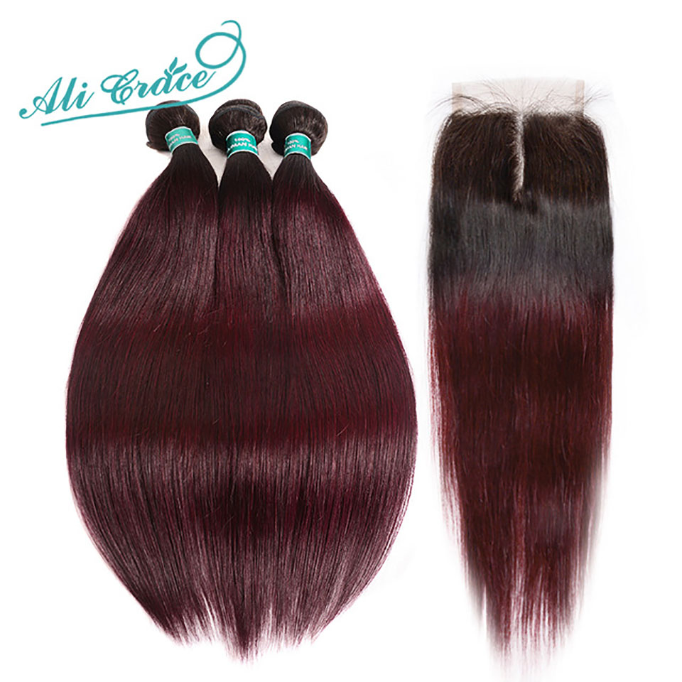 Ali Grace Hair Brazilian Straight Hair 3 Bundles Ombre Human Hair Weave With 4 4 Lace