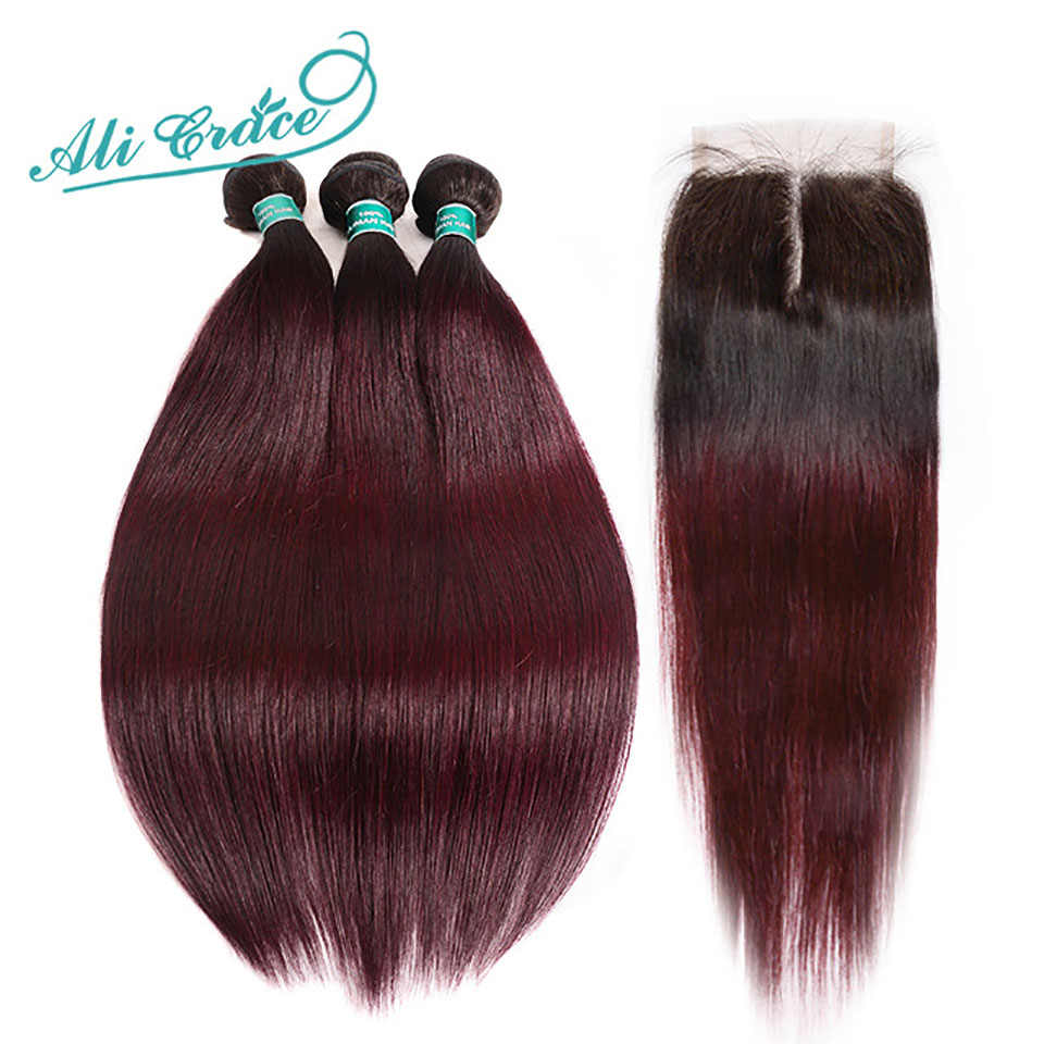 Ali Grace Hair Brazilian Straight Hair 3 Bundles Ombre Human Hair Weave With 4*4 Lace Closure 100% Remy Hair 1B/99J