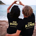 Plus Size Women Men Lovers Tshirt Letters Print Couples T-Shirt Tees Hipster Summer Causal Clothing nz17