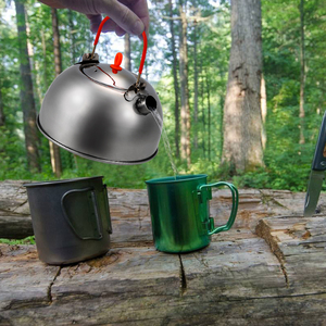 Image 5 - 0.6L Stainless Steel Tea Kettle Portable Outdoor Camping Hiking Water Kettle Teapot Coffee Pot Outdoor Tableware