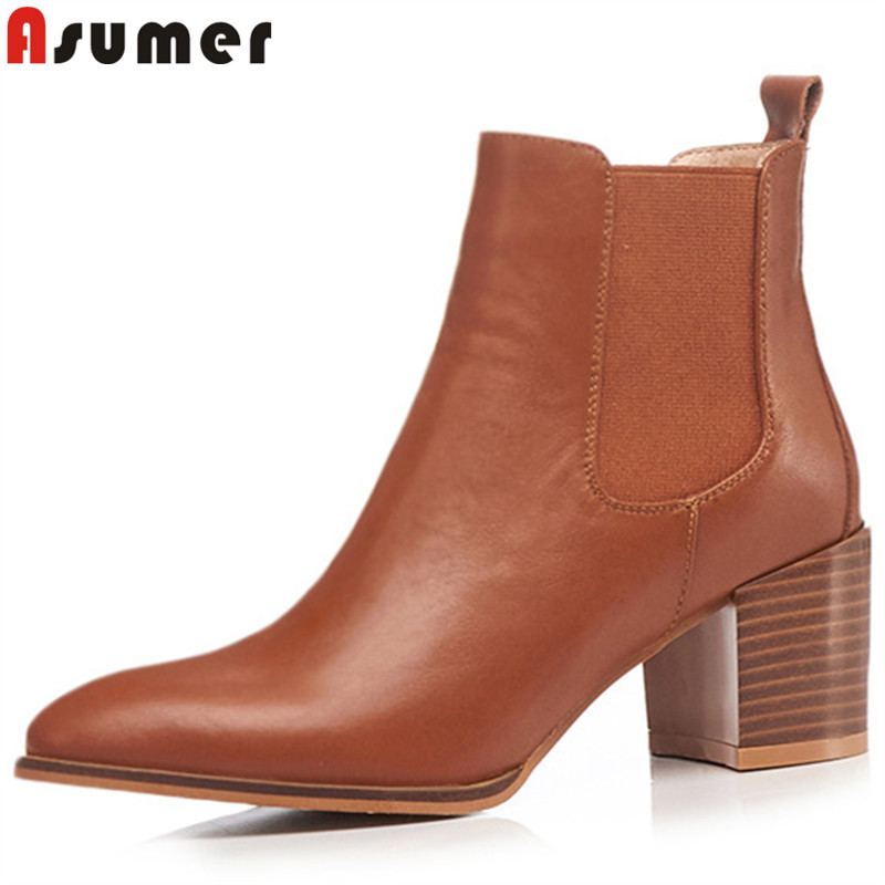 ASUMER 2018 fashion autumn winter boots women pointed toe ladies ankle boots thick high heels genuine leather boots asumer black fashion autumn winter boots women pointed toe zip genuine leather boots thick high heels ankle boots big size 33 43
