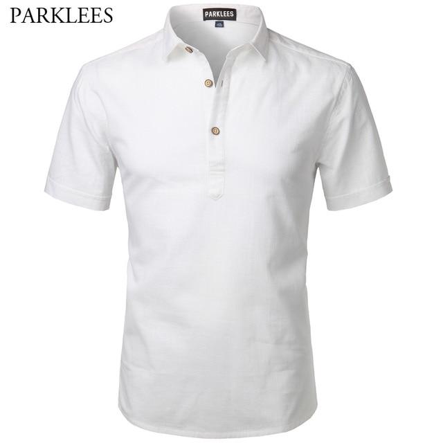 0c4419f089 Homens Verão 2017 Da Marca New Cotton Mens Vestido de Camisa branca camisas  de Manga Curta