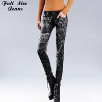 Sexy Slim Rhinestones Floral Print Black Painted Pattern Skinny Jeans Elastic Women Low Waist Denim Pencil