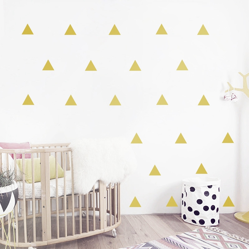Gold triangle Wall Sticker Removable font b home b font decoration art Wall Decals Free Shipping