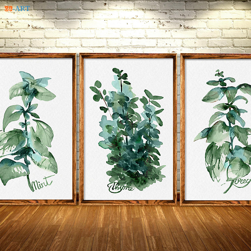Framed Canvas Painting Kitchen Herbs Prints Art Herb Green Wall Decoration Botanical