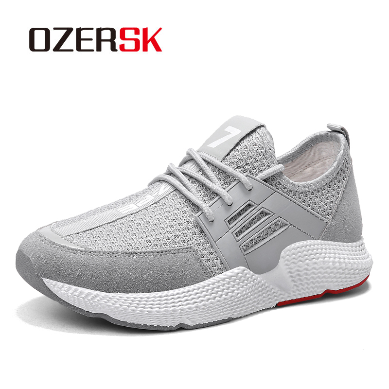 OZERSK 2019 Summer Air Mesh +Suede Men's Light Casual Shoes Breathable Brand Men's Walking Shoes Sneakers Sapatilhas 39~44