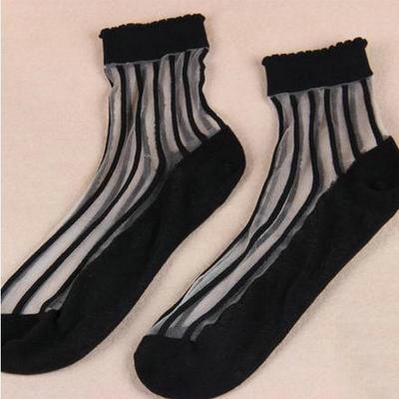 Free shopping Vertical stripes Pure and fresh and transparent crystal socks Lace ms candy color crystal socks short silk socks