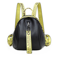 Spring And Summer New Leather Ladies Backpack Korean Black Simple Wild Alphabet Color Shoulder Strap Sheepskin