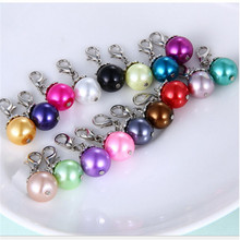 12pcs/lot Mixed pearl dangle floating charm for glass memory locket necklace fashion diy charms pendant imitation jewelry
