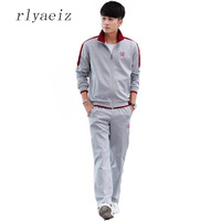 Rlyaeiz S 5XL Mens Sets Casual Tracksuit 2017 Spring Autumn Sportswear Men Embroidery Striped Hoodies + Pants Sporting Suits Man