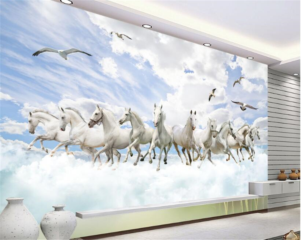 beibehang Thicken personalized 3d wallpaper white horse 3D fashion stereo TV background wall decorative painting papier peint