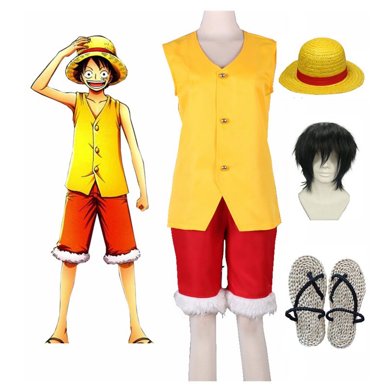 Anime Costumes S-3xl Hot One Piece Anime Cosplay Halloween Film Gold Monkey D Luffy Cos Man Woman Cosplay Costume Top+pants Non-Ironing Costumes & Accessories