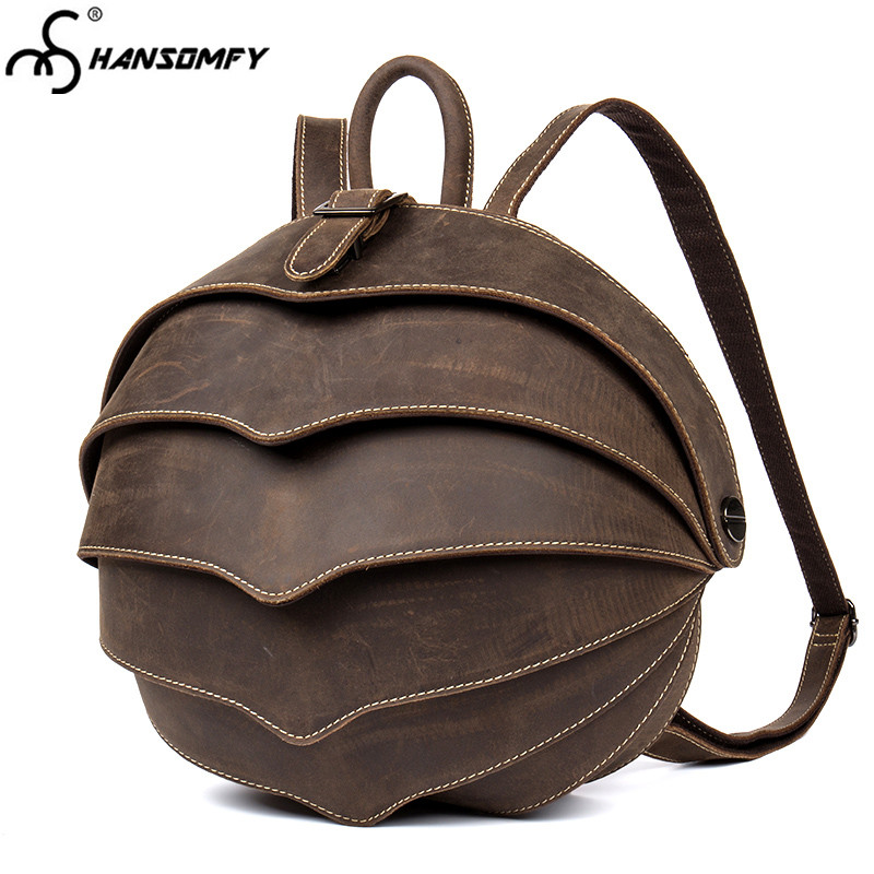 Men's Bags Backpacks Nesitu High Quality Brown Vintage Real Skin Vegetable Tanned Genuine Leather Women Men Backpacks Female Male Travel Bags M9019 And To Have A Long Life.