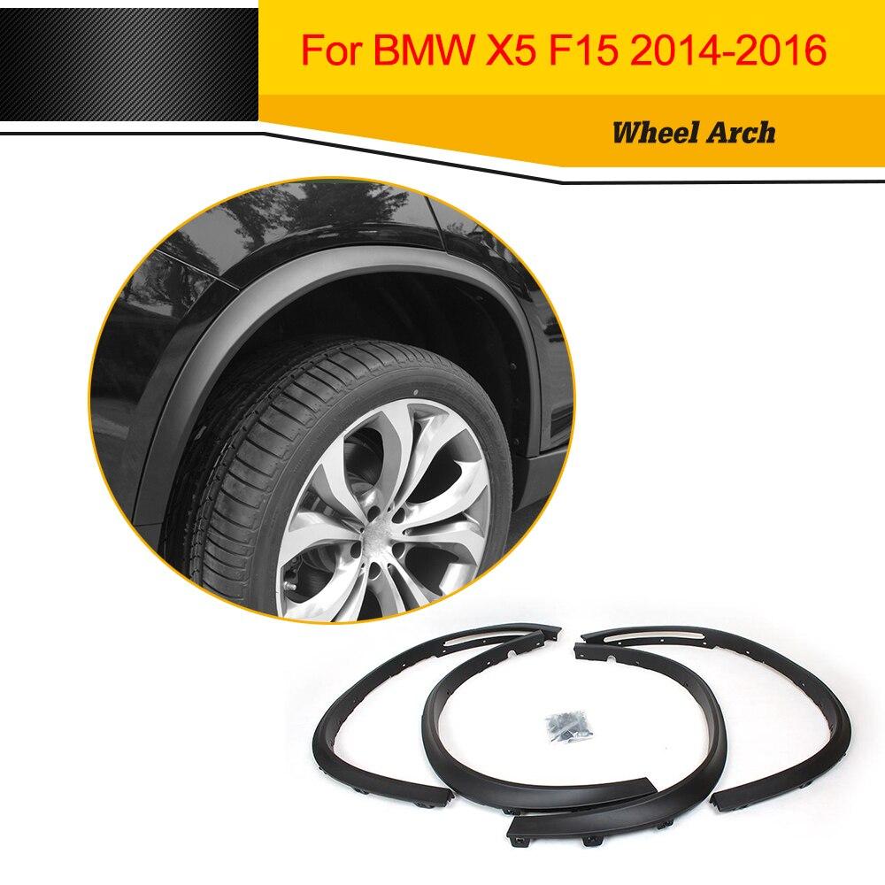 Garnitures de moulage de fusée d'aile latérale automatique de PP arceau de roue de voiture noir mat pour BMW F15 X5 2014-2016