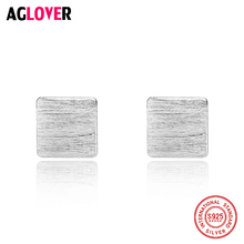 AGLOVER Stud Earrings Fashion Jewelry Women 925 Solid Silver Square Trendy Girls Elegant Romantic Earring