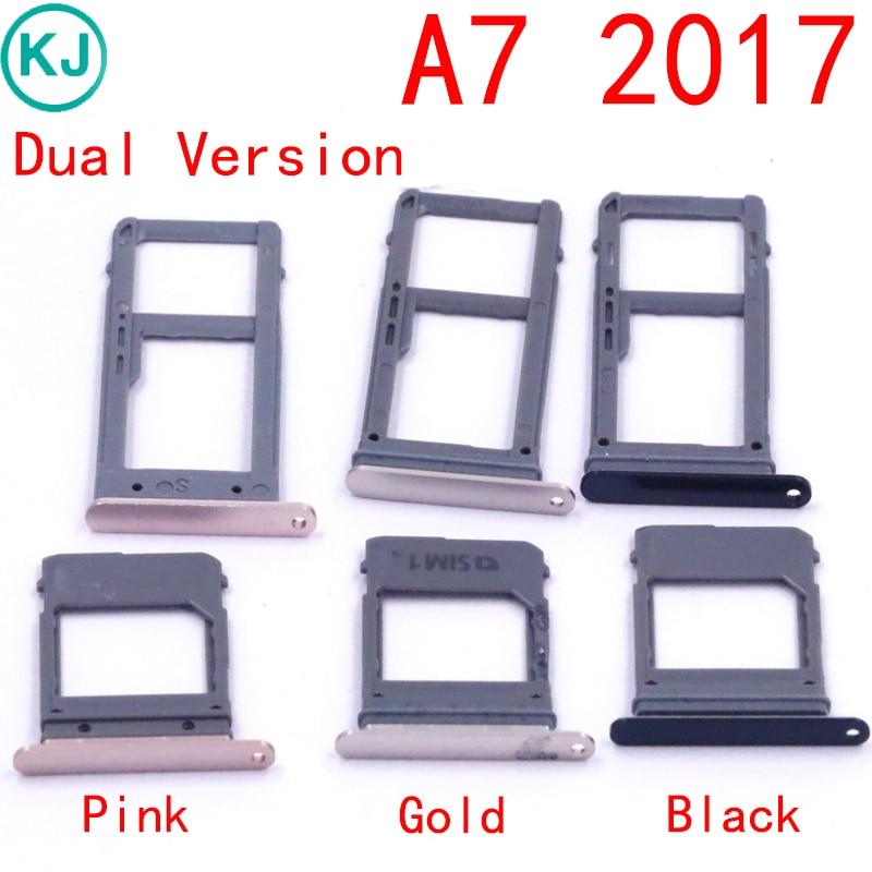 Rear A5 A7 2017 SIM Card Tray For Samsung Galaxy A520 A720 Sim Card SD Card Adapter Holder Slot Single Dual Version