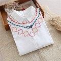 Новая Рубашка Женщины 2017 Хлопок Свободные Белые Блузки Вышивка Милые Рубашка Топы Повседневная С Длинным Рукавом T61203