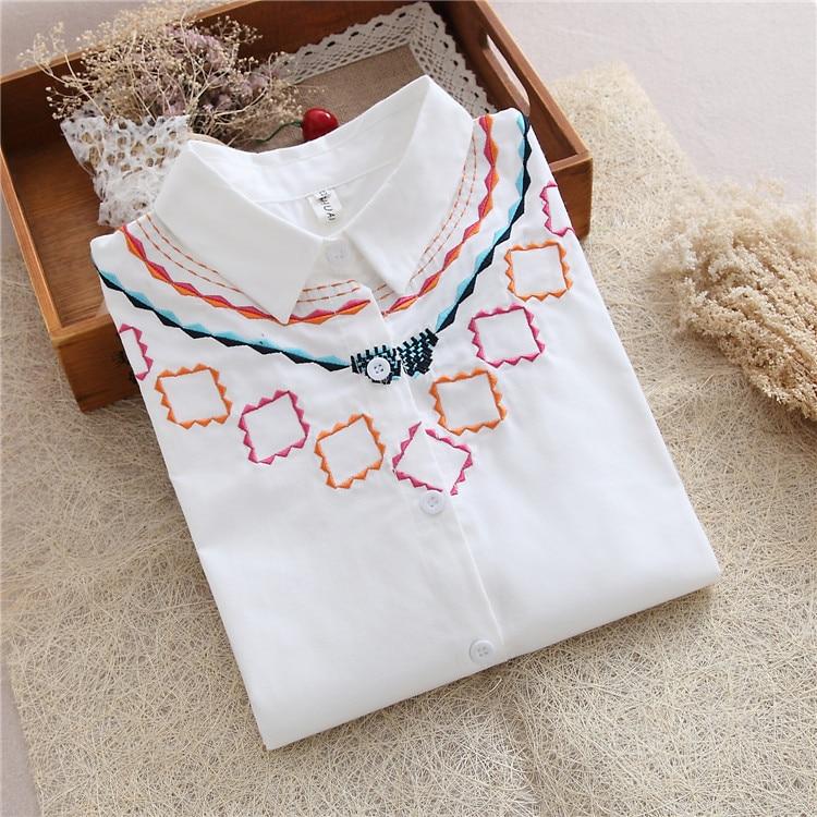 Nueva Camisa de Las Mujeres 2017 Suelta de Algodón Blanco Bordado Blusa de Tops