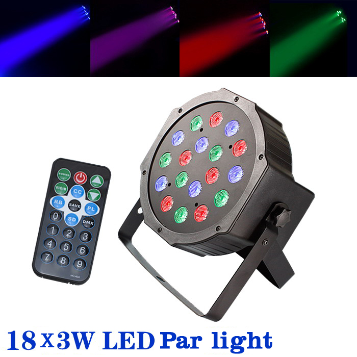 4pcs DHL free shipping 18*3W Led Stage Light High Power RGB Professional Par Stage&DJ Lighting DMX512 Led Flat 3w led rgb high power led lamp bulbs rgb six legs 350ma 3 2 3 4v taiwan genesis hpo chips free shipping