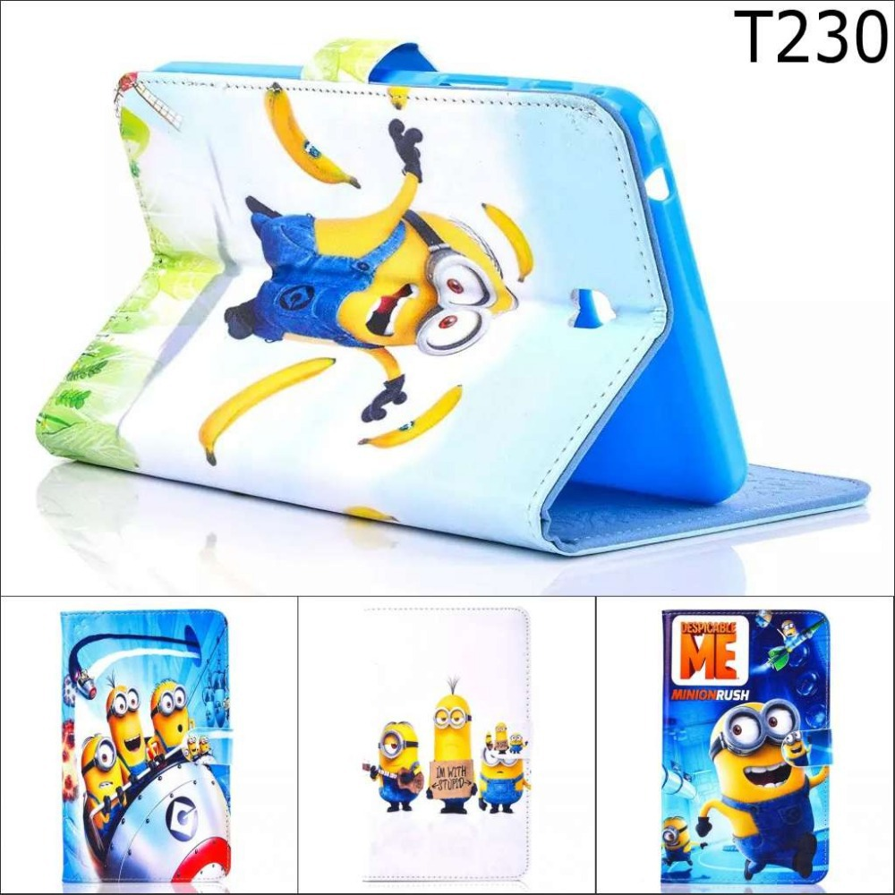Fashion Cartoon New Despicable Me Minions Character Leather Stand Case smart Cover For Samsung Galaxy Tab 4 7.0 T230 T231 T235