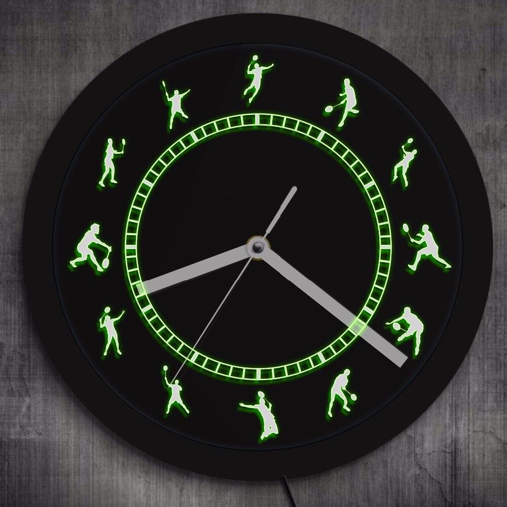 Badminton temps noir rond Badminton joueurs LED Silhouette horloge murale volant lumineux mur montre Badminton décor maison cadeau