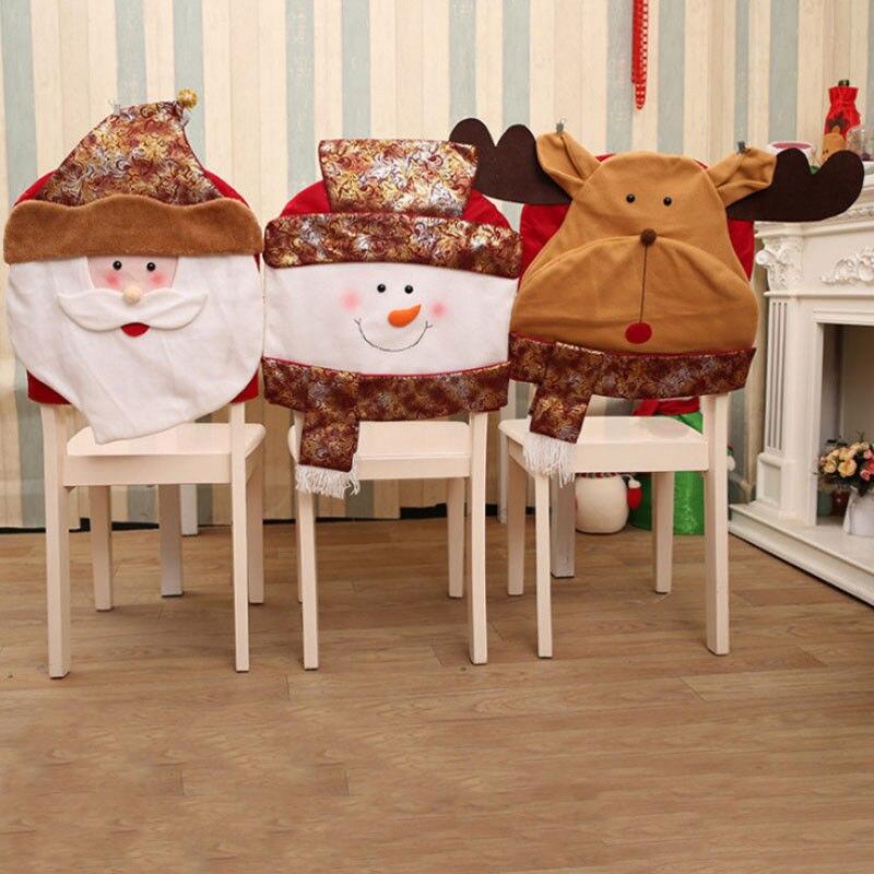 Рождественское покрытие для стула Mr Santa/Снеговик/принт лося для обеденных стульев рождественские праздничные настольные украшения для дома на Рождество|Чехлы на стулья|   | АлиЭкспресс