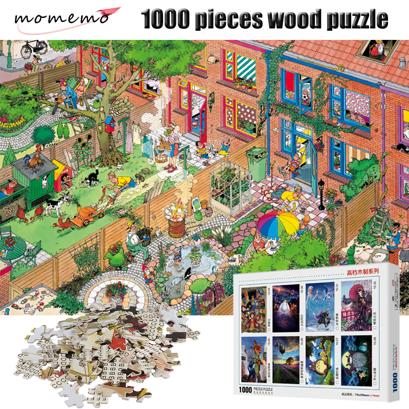 MOMEMO The Sunday Wooden Puzzles Assembling 1000 Pieces Puzzle Game Entertainment Toys Adult Wooden Puzzle 1000 Pieces Kids Gift