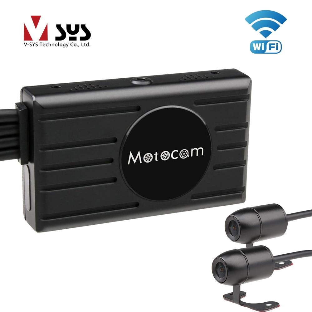 SYS VSYS 3.0 ''Moto DVR M2F WiFi Full HD Double 1080 P Moto dash cam à caméra Avant et Arrière Étanche noir Lentille Boîte