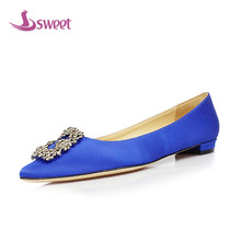sweet Brand womens shoes woman flats Spring/Autumn Basic Silk Slip-On Pointed Toe Solid Crystal WeddingA7
