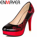 ENMAYER Shoes Pumps  Fashion Women High Heels Pumps Women Spring Summer Casual Dress Plaform Pumps Big Size 34-43 Shoes Women