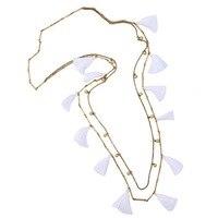 Wholesale Stella Jewelry Vintage Gold White Soft Silk Tassel Station Dot Neckalce For Women Brand Jewelry
