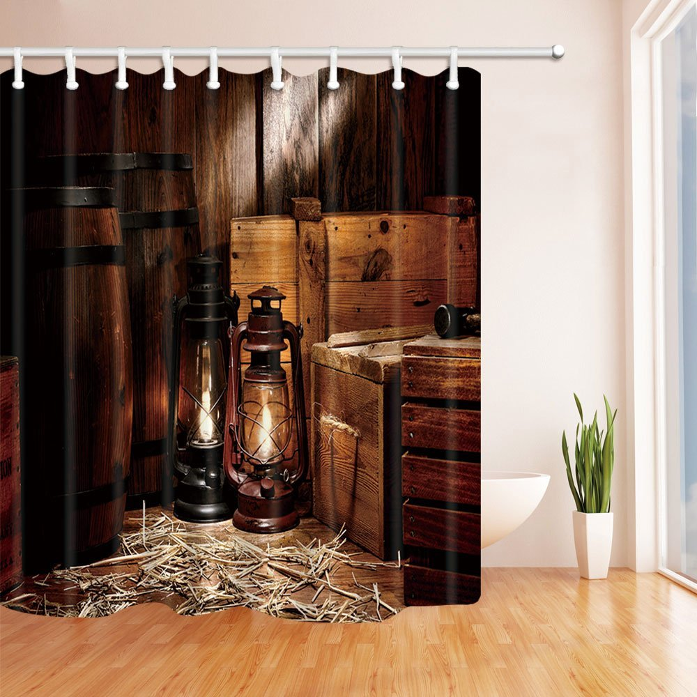 Buy western cowboy shower curtain american texas style country light on wooden for Country style bathroom shower curtains