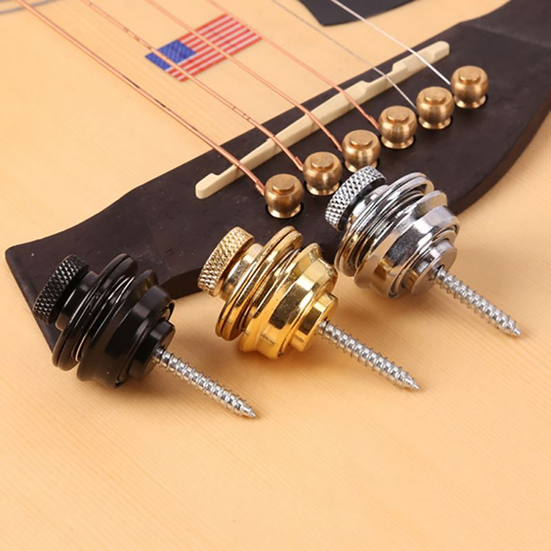 Guitar Strap Lock Easy Fix & Remove Chrome Plated Straplock Button for All Acoustic Electric Bass Guitar Strap Screw 3 Colors