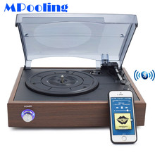 MPooling Bluetooth Vinyl Record Player Vintage Turntable Players W/ 2 Built-in Speakers RCA Line-out Wood AC110~130V&220~240V