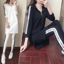 2017 New Design Hot sale Fashion Women's sportssuit Solid color Slim Leggings Spring Autumn tide Hooded Hat leisure two sets