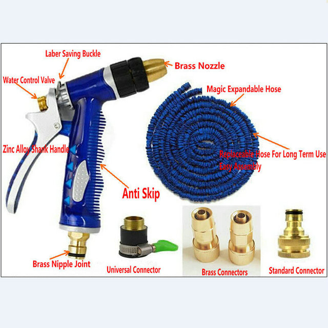 1PC/LOT 50FT/15M(when expandable) Flexible/Contract Garden Watering Hose Kits With 4 Brass Connectors
