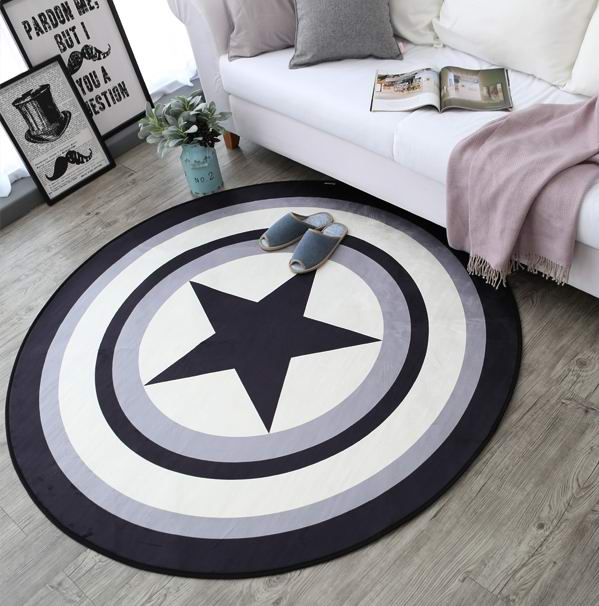 The trend of circular carpet Marvel Captain America Shield Blanket living room table mat bedroom rug computer cushion child pad