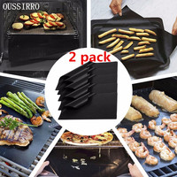OUSSIR New 2 Pcs Reusable BBQ Grill Mat Baking Easy Clean Grilling Fried Sheet Portable Outdoor