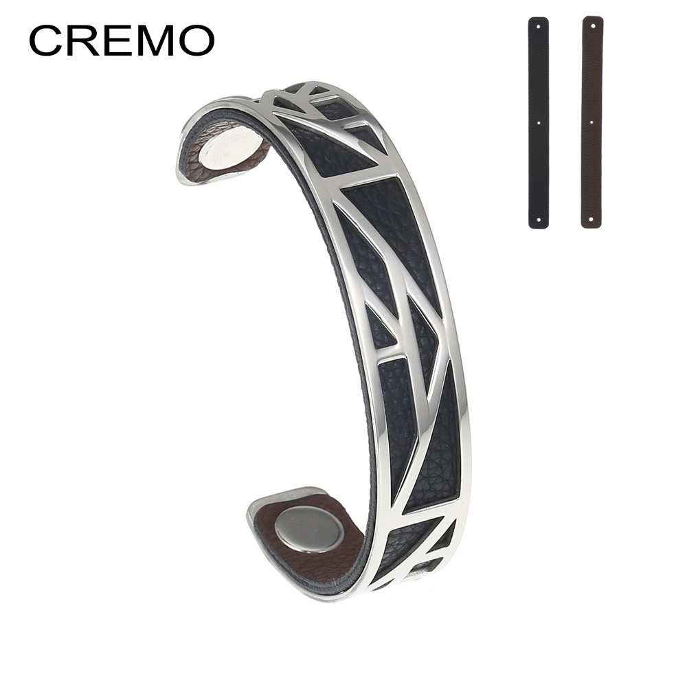 Cremo Cuff Bracelets & bangles For Women Silver Bangle Manchette Femme Charm Reversible Leather Stainless Steel Bracelet Jewelry cremo labyrinth bangles stainless steel bracelets femme bijoux manchette reversible 40mm wide maze leather bangle pulseiras