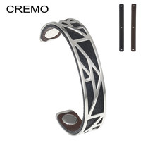 Cremo Cuff Bracelets For Women Bijoux Silver Bangles Bracelets Manchette Femme Charm Reversible Leather Stainless Steel Jewelry(China)